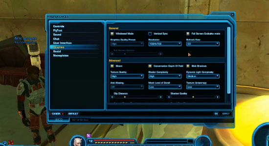 Only A Sith Lord Deals In Absolutes - Setting Up Preferences In Star Wars: The Old Republic